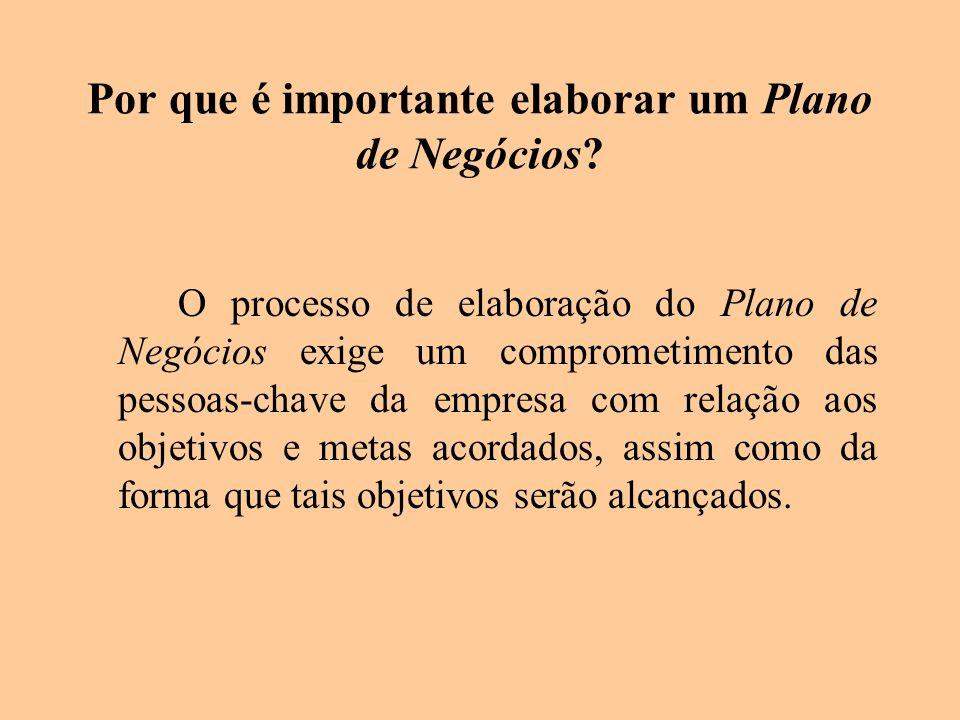 Por que é importante elaborar um Plano de Negócios? O processo de elaboração do Plano de Negócios exige um comprometimento das pessoas-chave da empres