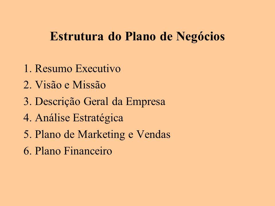 Estrutura do Plano de Negócios 1. Resumo Executivo 2. Visão e Missão 3. Descrição Geral da Empresa 4. Análise Estratégica 5. Plano de Marketing e Vend