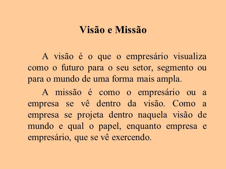 Visão e Missão A visão é o que o empresário visualiza como o futuro para o seu setor, segmento ou para o mundo de uma forma mais ampla. A missão é com