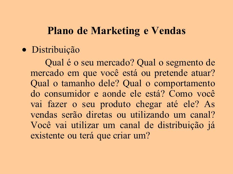 Plano de Marketing e Vendas Distribuição Qual é o seu mercado? Qual o segmento de mercado em que você está ou pretende atuar? Qual o tamanho dele? Qua