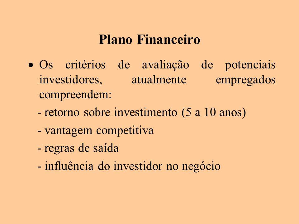 Plano Financeiro Os critérios de avaliação de potenciais investidores, atualmente empregados compreendem: - retorno sobre investimento (5 a 10 anos) -