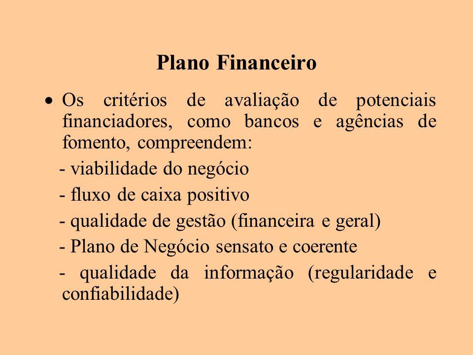 Plano Financeiro Os critérios de avaliação de potenciais financiadores, como bancos e agências de fomento, compreendem: - viabilidade do negócio - flu