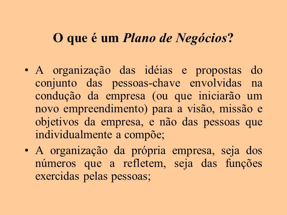 O que é um Plano de Negócios? A organização das idéias e propostas do conjunto das pessoas-chave envolvidas na condução da empresa (ou que iniciarão u