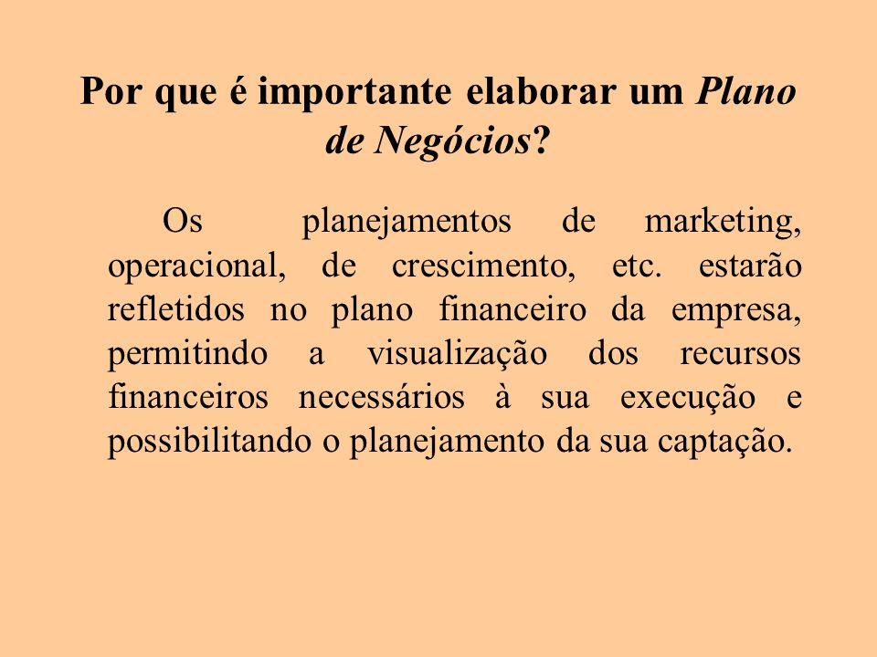 Por que é importante elaborar um Plano de Negócios? Os planejamentos de marketing, operacional, de crescimento, etc. estarão refletidos no plano finan