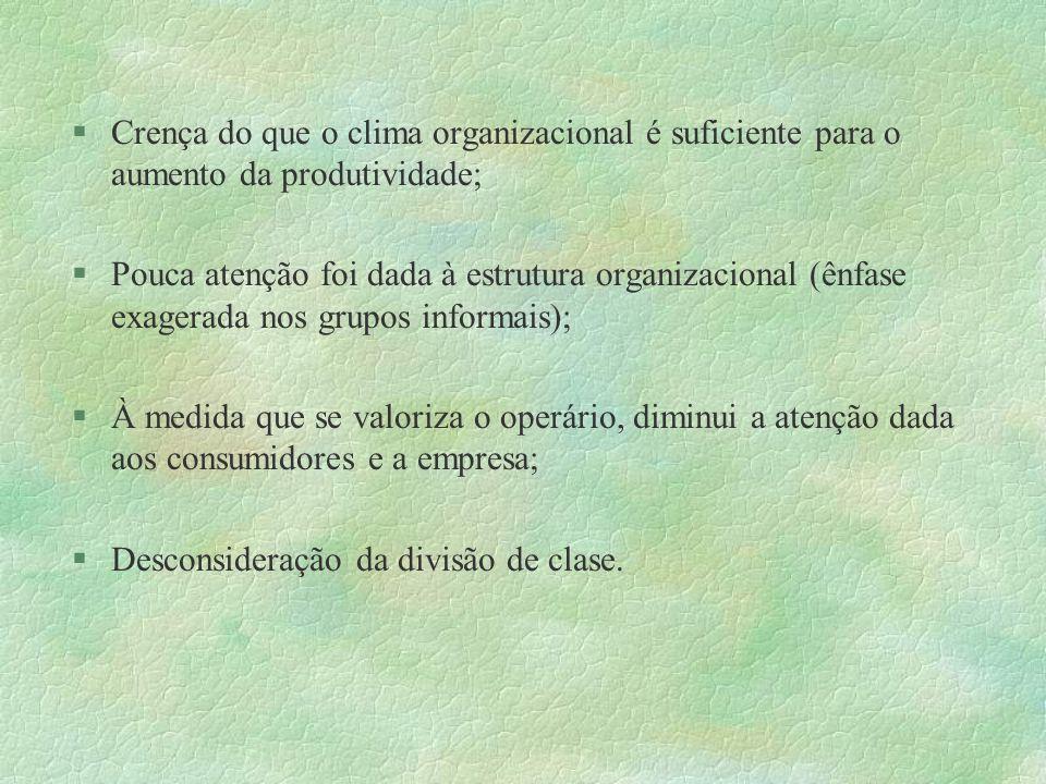 Crença do que o clima organizacional é suficiente para o aumento da produtividade; Pouca atenção foi dada à estrutura organizacional (ênfase exagerada