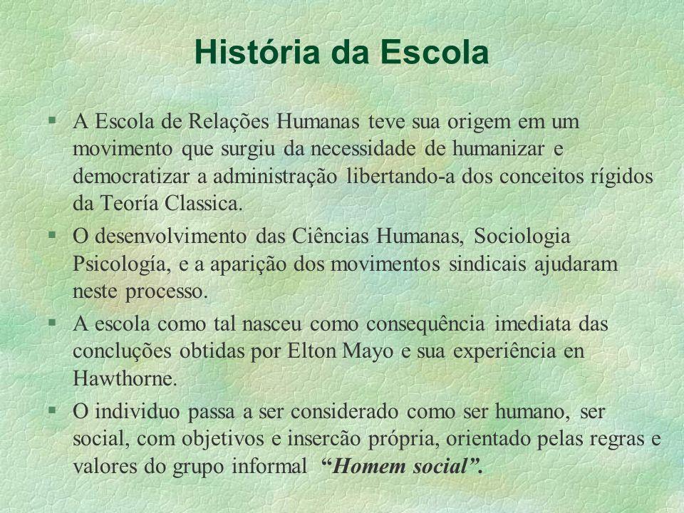 História da Escola A Escola de Relações Humanas teve sua origem em um movimento que surgiu da necessidade de humanizar e democratizar a administração