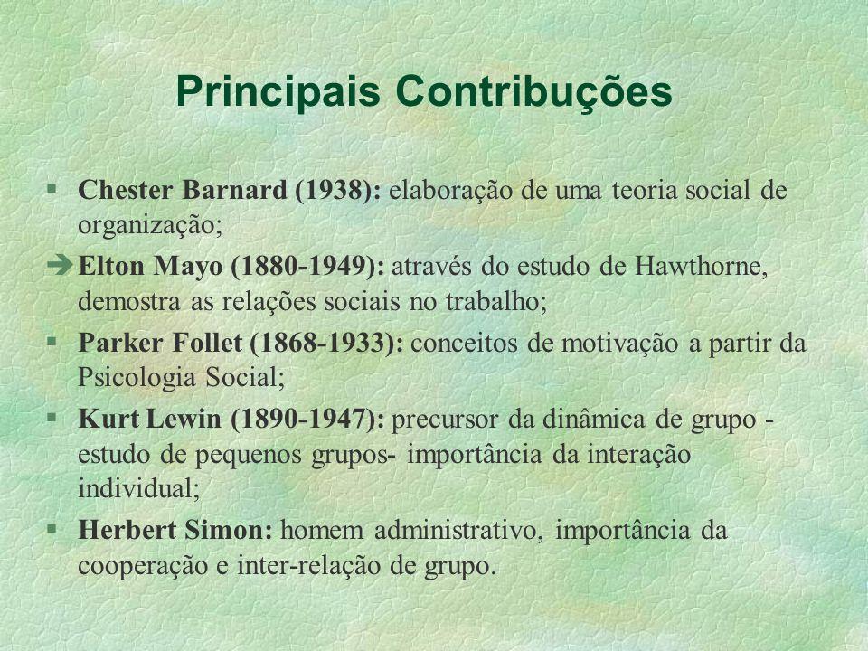 Principais Contribuções Chester Barnard (1938): elaboração de uma teoria social de organização; Elton Mayo (1880-1949): através do estudo de Hawthorne
