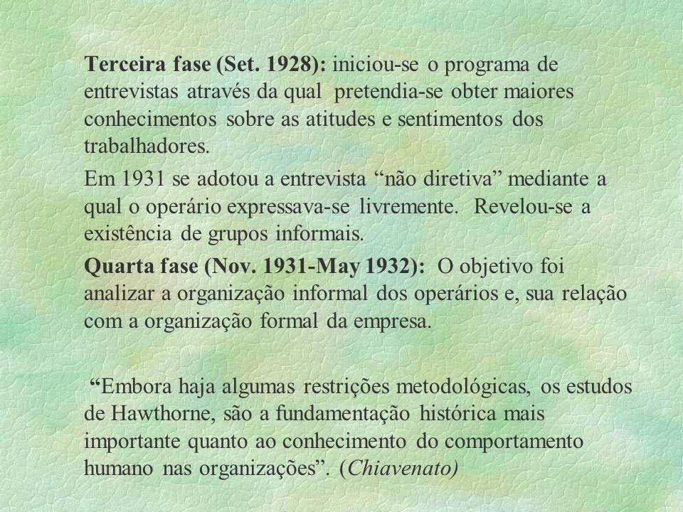 Terceira fase (Set. 1928): iniciou-se o programa de entrevistas através da qual pretendia-se obter maiores conhecimentos sobre as atitudes e sentiment