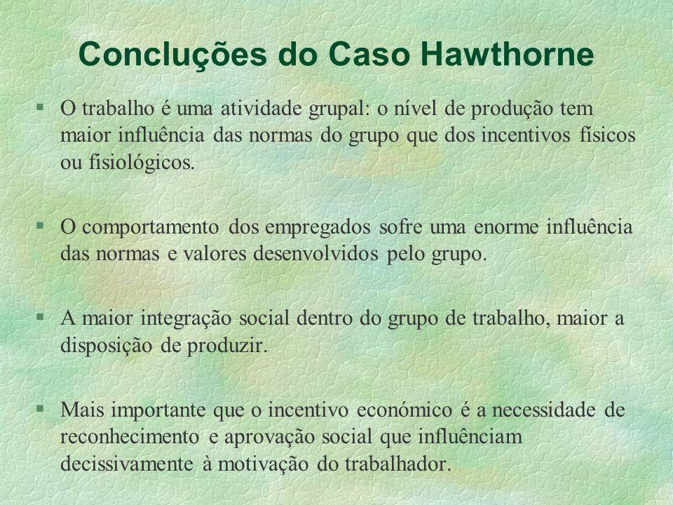 Concluções do Caso Hawthorne O trabalho é uma atividade grupal: o nível de produção tem maior influência das normas do grupo que dos incentivos físico