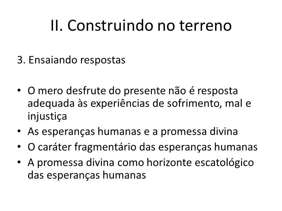 II. Construindo no terreno 3. Ensaiando respostas O mero desfrute do presente não é resposta adequada às experiências de sofrimento, mal e injustiça A