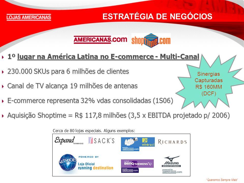 Queremos Sempre Mais 1º lugar na América Latina no E-commerce - Multi-Canal 1º lugar na América Latina no E-commerce - Multi-Canal 230.000 SKUs para 6