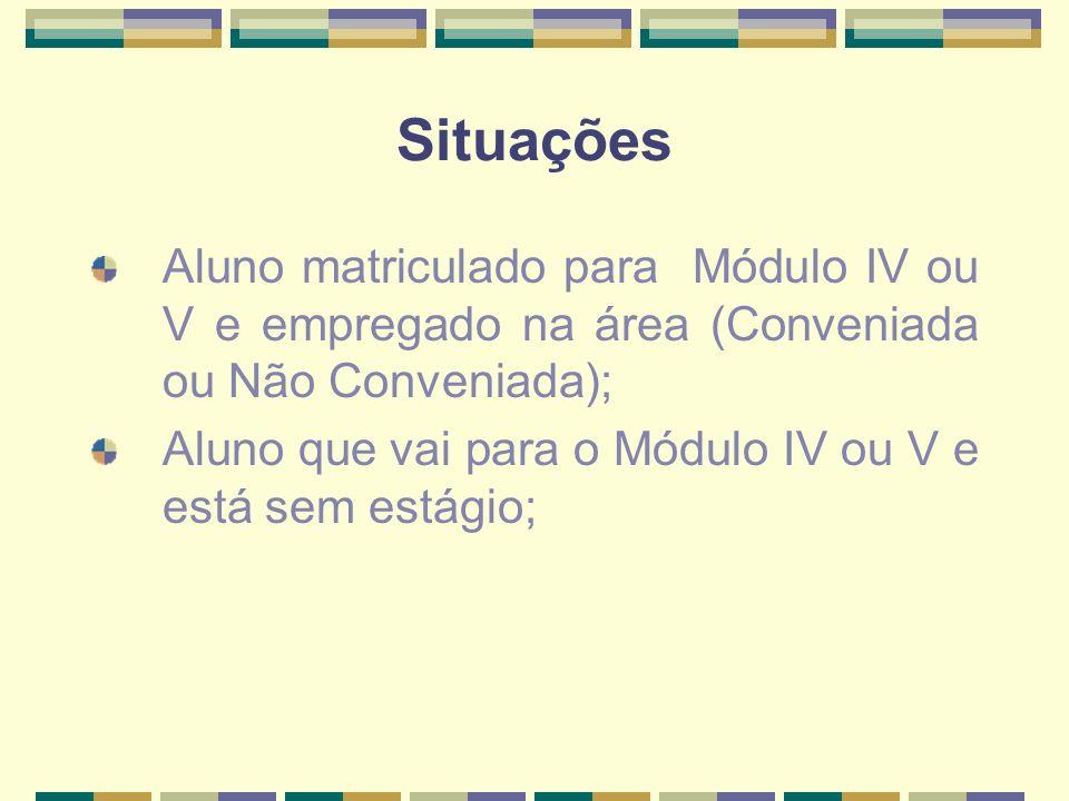 Situações Aluno matriculado para Módulo IV ou V e empregado na área (Conveniada ou Não Conveniada); Aluno que vai para o Módulo IV ou V e está sem estágio;