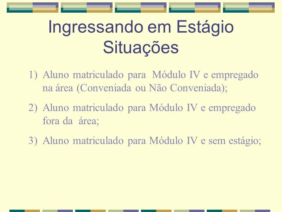 Ingressando em Estágio Situações 1)Aluno matriculado para Módulo IV e empregado na área (Conveniada ou Não Conveniada); 2)Aluno matriculado para Módul