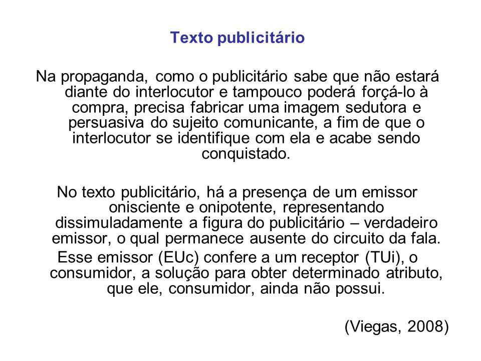 Texto publicitário Na propaganda, como o publicitário sabe que não estará diante do interlocutor e tampouco poderá forçá-lo à compra, precisa fabricar