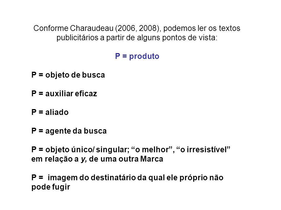 Conforme Charaudeau (2006, 2008), podemos ler os textos publicitários a partir de alguns pontos de vista: P = produto P = objeto de busca P = auxiliar