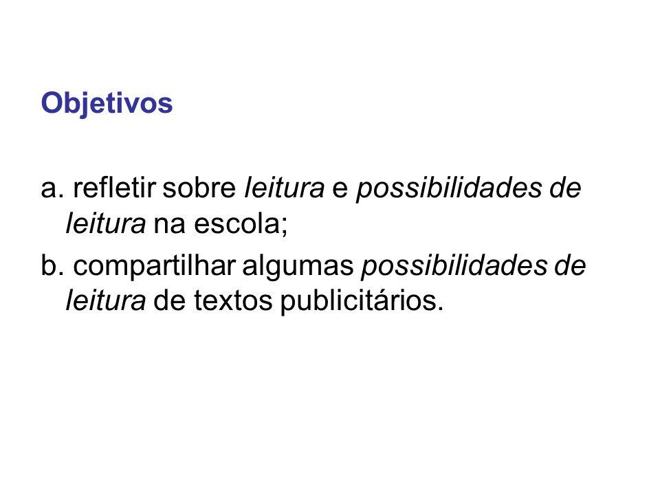 Objetivos a. refletir sobre leitura e possibilidades de leitura na escola; b. compartilhar algumas possibilidades de leitura de textos publicitários.