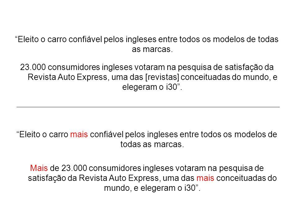 Eleito o carro confiável pelos ingleses entre todos os modelos de todas as marcas. 23.000 consumidores ingleses votaram na pesquisa de satisfação da R