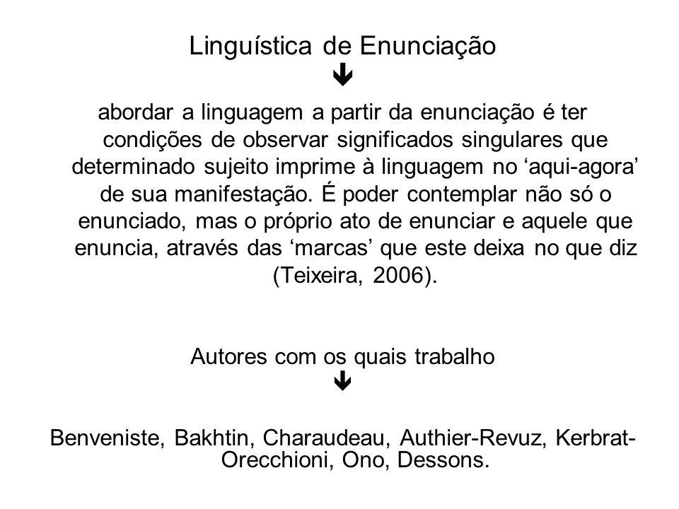 Linguística de Enunciação abordar a linguagem a partir da enunciação é ter condições de observar significados singulares que determinado sujeito impri