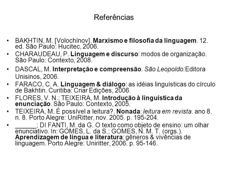 Referências BAKHTIN, M. [Volochínov]. Marxismo e filosofia da linguagem. 12. ed. São Paulo: Hucitec, 2006. CHARAUDEAU, P. Linguagem e discurso: modos