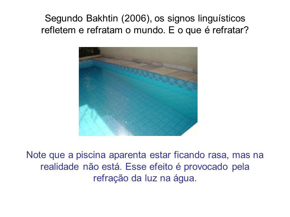 Segundo Bakhtin (2006), os signos linguísticos refletem e refratam o mundo. E o que é refratar? Note que a piscina aparenta estar ficando rasa, mas na