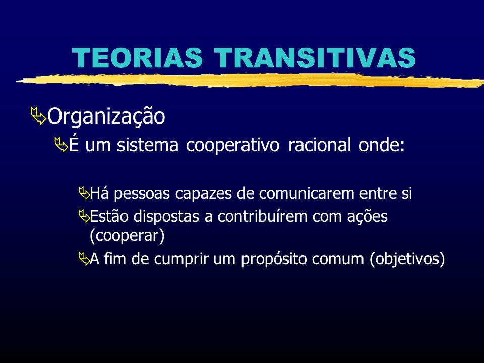 TEORIAS TRANSITIVAS Organização É um sistema cooperativo racional onde: Há pessoas capazes de comunicarem entre si Estão dispostas a contribuírem com