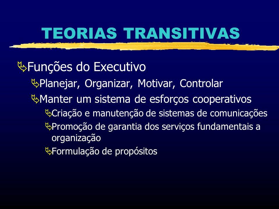 TEORIAS TRANSITIVAS Funções do Executivo Planejar, Organizar, Motivar, Controlar Manter um sistema de esforços cooperativos Criação e manutenção de si