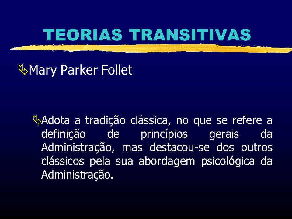 TEORIAS TRANSITIVAS Mary Parker Follet (1868 a 1933) Estudou na Thayer Academy e Society for the Collegiate Instruction of Women - Filiada a Harvard Graduou-se em Economia, Administração Pública, Direito e Filosofia.