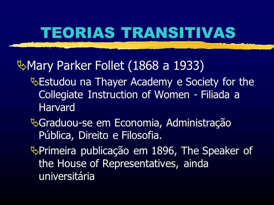 TEORIAS TRANSITIVAS Mary Parker Follet (1868 a 1933) Estudou na Thayer Academy e Society for the Collegiate Instruction of Women - Filiada a Harvard G