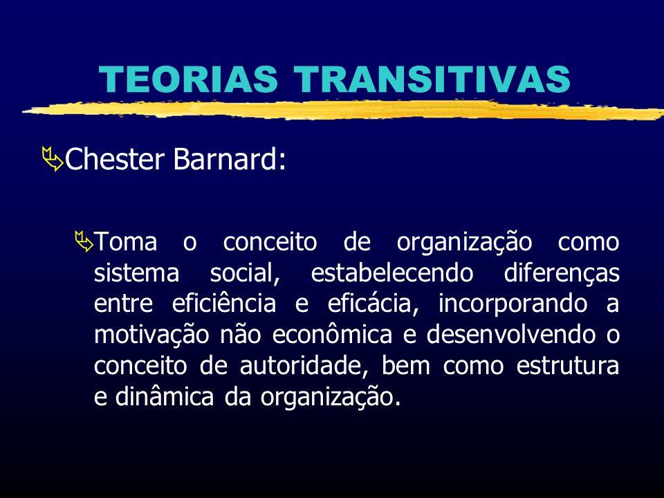 TEORIAS TRANSITIVAS Chester Barnard (1886 a 1961): Estudou em Mount Herman e Harvard Trabalhou 40 anos na American Telephone & Telegraph Company (AT&T), terminando sua carreira como presidente da New Jersey Bell Telephone Company Obras: As Funções do Executivo e Organização e Administração.