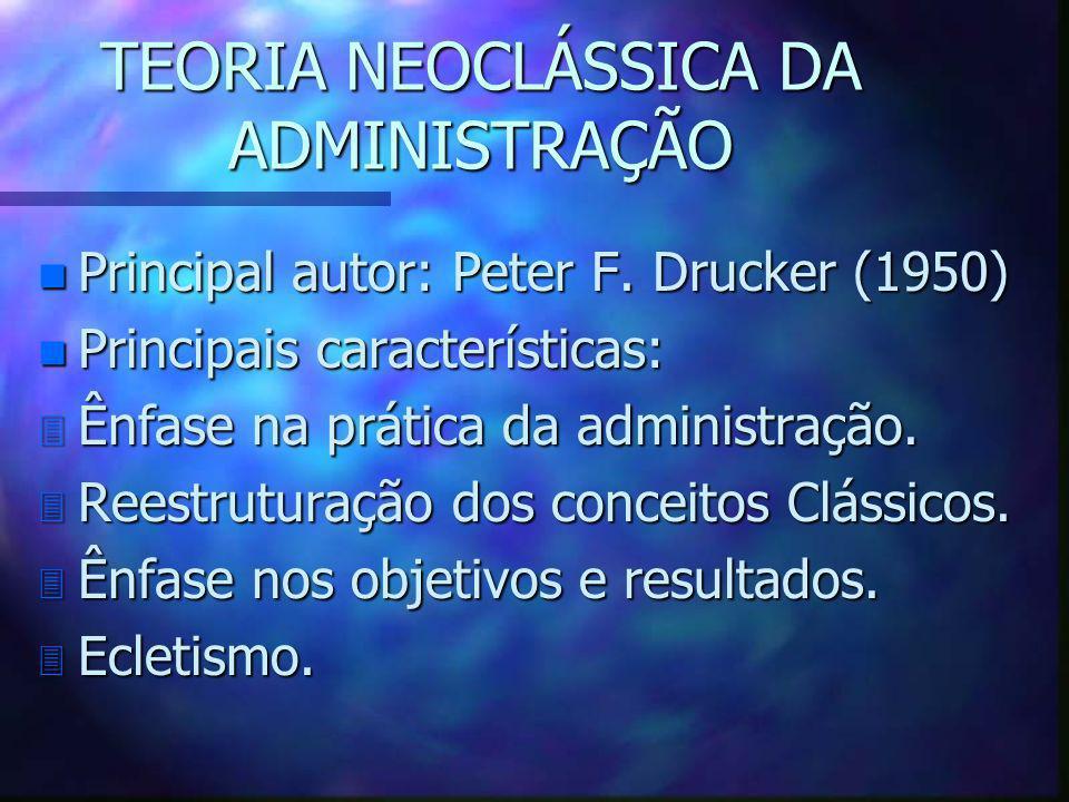 TEORIA NEOCLÁSSICA DA ADMINISTRAÇÃO n Principal autor: Peter F. Drucker (1950) n Principais características: 3 Ênfase na prática da administração. 3 R