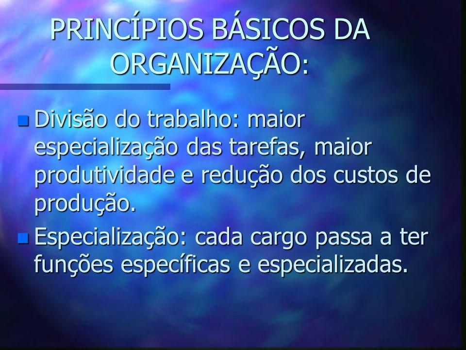 PRINCÍPIOS BÁSICOS DA ORGANIZAÇÃO : n Divisão do trabalho: maior especialização das tarefas, maior produtividade e redução dos custos de produção. n E