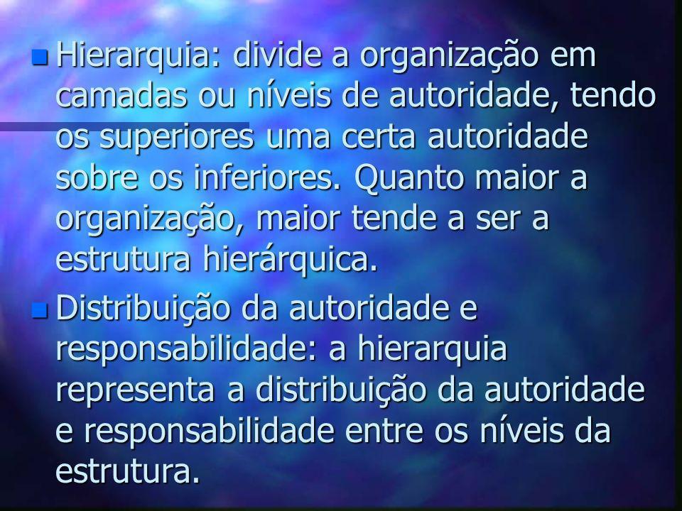n Hierarquia: divide a organização em camadas ou níveis de autoridade, tendo os superiores uma certa autoridade sobre os inferiores. Quanto maior a or