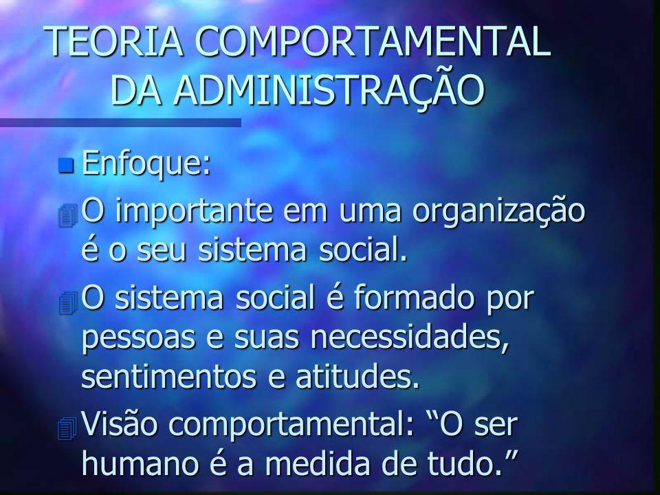 TEORIA COMPORTAMENTAL DA ADMINISTRAÇÃO n Enfoque: 4 O importante em uma organização é o seu sistema social. 4 O sistema social é formado por pessoas e