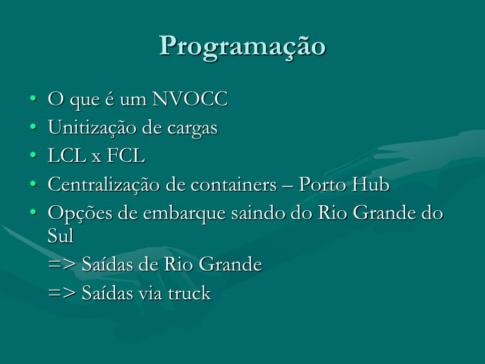 Programação O que é um NVOCCO que é um NVOCC Unitização de cargasUnitização de cargas LCL x FCLLCL x FCL Centralização de containers – Porto HubCentra
