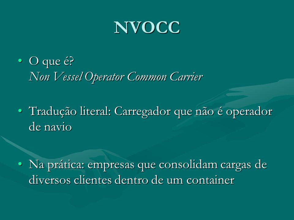 NVOCC O que é? Non Vessel Operator Common CarrierO que é? Non Vessel Operator Common Carrier Tradução literal: Carregador que não é operador de navioT
