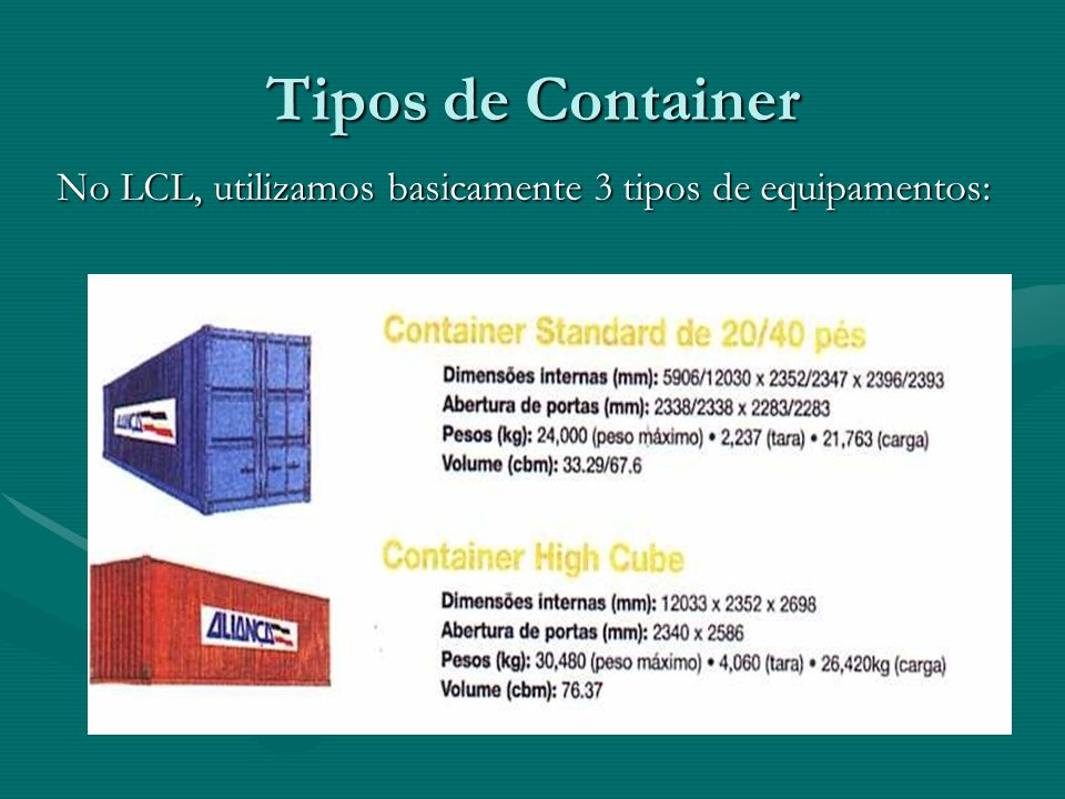 Tipos de Container No LCL, utilizamos basicamente 3 tipos de equipamentos: