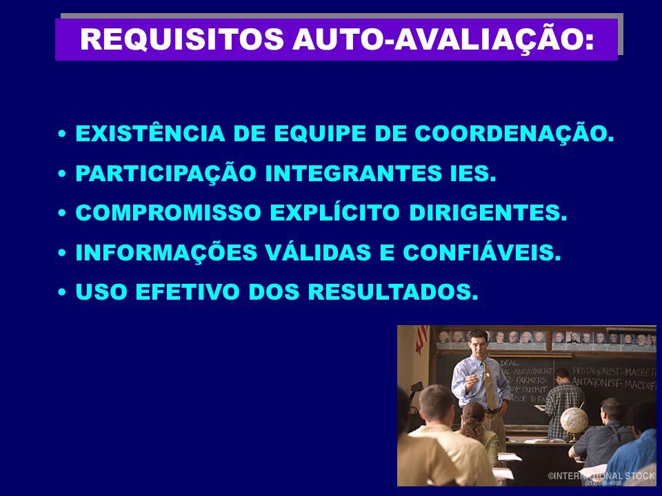 REQUISITOS AUTO-AVALIAÇÃO: EXISTÊNCIA DE EQUIPE DE COORDENAÇÃO. PARTICIPAÇÃO INTEGRANTES IES. COMPROMISSO EXPLÍCITO DIRIGENTES. INFORMAÇÕES VÁLIDAS E