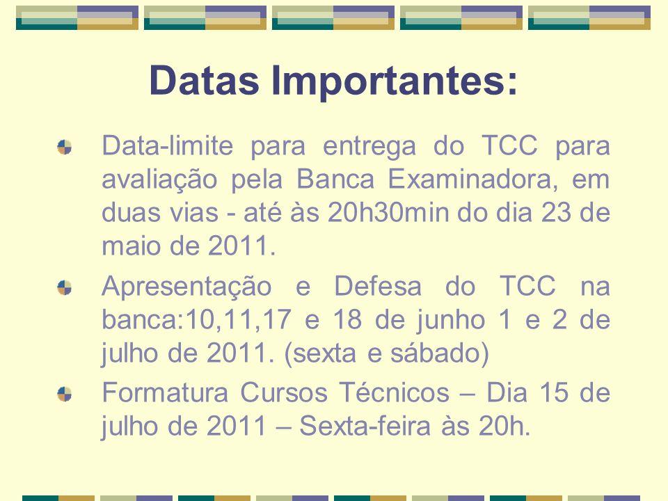 Datas Importantes: Data-limite para entrega do TCC para avaliação pela Banca Examinadora, em duas vias - até às 20h30min do dia 23 de maio de 2011. Ap