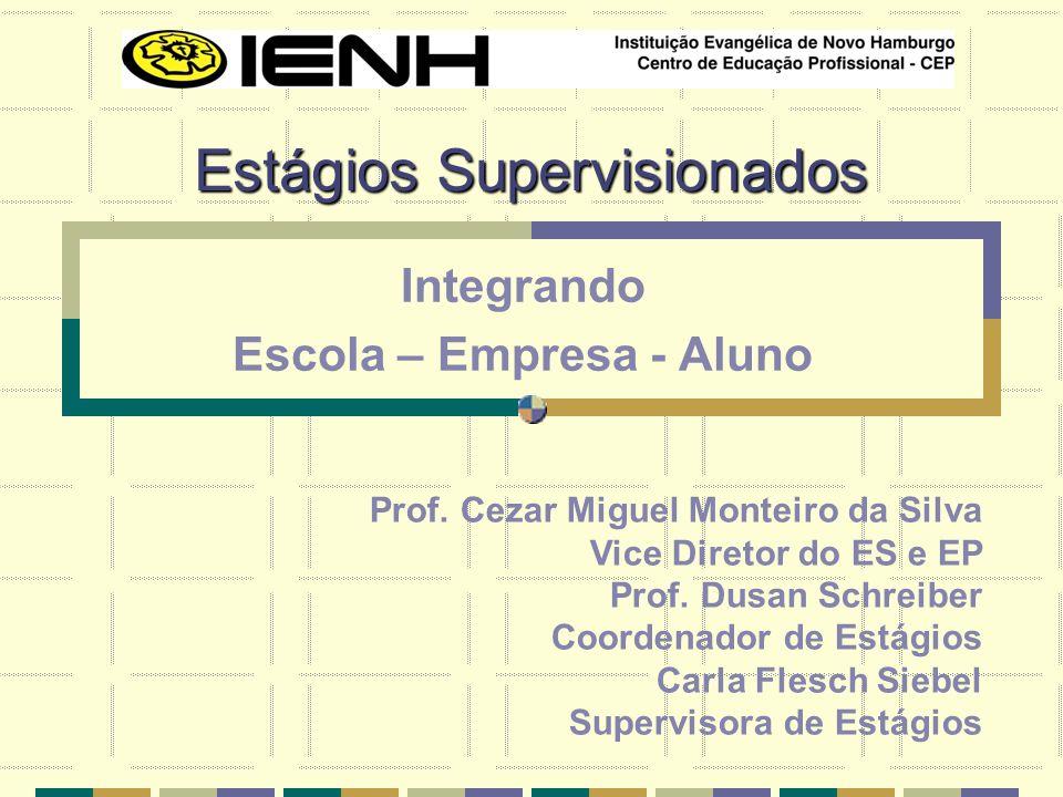 Estágios Supervisionados Integrando Escola – Empresa - Aluno Prof. Cezar Miguel Monteiro da Silva Vice Diretor do ES e EP Prof. Dusan Schreiber Coorde
