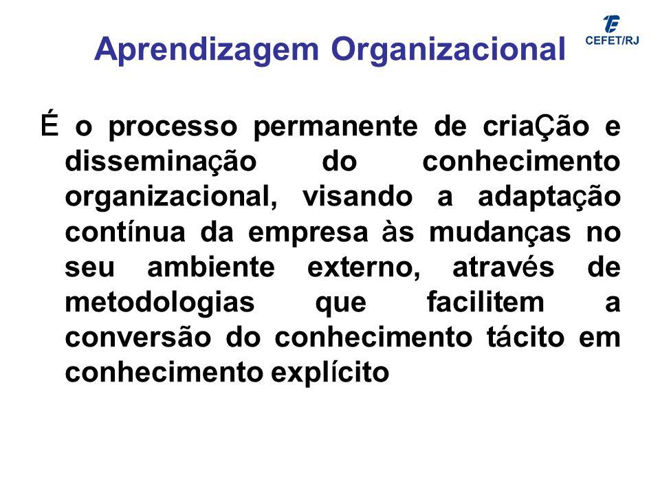 Aprendizagem Organizacional É o processo permanente de cria Ç ão e dissemina ç ão do conhecimento organizacional, visando a adapta ç ão cont í nua da