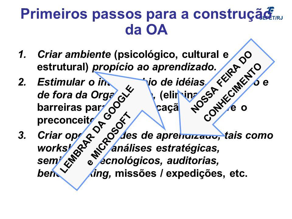 Primeiros passos para a construção da OA 1.Criar ambiente (psicológico, cultural e estrutural) propício ao aprendizado. 2.Estimular o intercâmbio de i