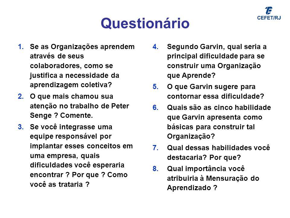 Questionário 1.Se as Organizações aprendem através de seus colaboradores, como se justifica a necessidade da aprendizagem coletiva? 2.O que mais chamo
