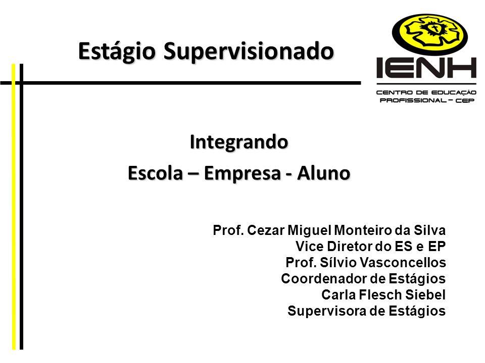 Integrando Escola – Empresa - Aluno Prof. Cezar Miguel Monteiro da Silva Vice Diretor do ES e EP Prof. Sílvio Vasconcellos Coordenador de Estágios Car