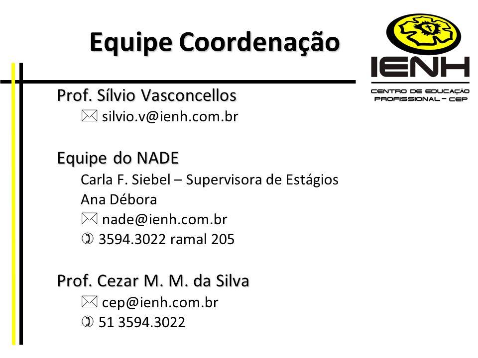 Equipe Coordenação Prof. Sílvio Vasconcellos silvio.v@ienh.com.br Equipe do NADE Carla F. Siebel – Supervisora de Estágios Ana Débora nade@ienh.com.br