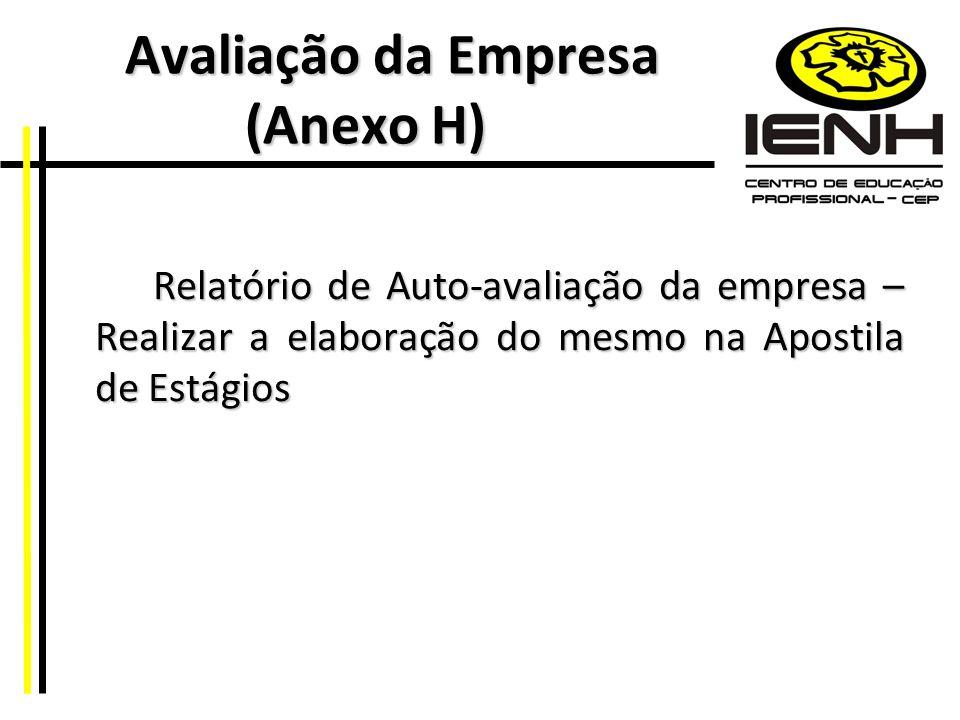 Avaliação da Empresa (Anexo H) Avaliação da Empresa (Anexo H) Relatório de Auto-avaliação da empresa – Realizar a elaboração do mesmo na Apostila de E