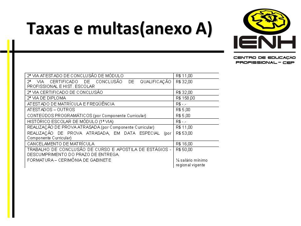 Taxas e multas(anexo A) Taxas e multas(anexo A)