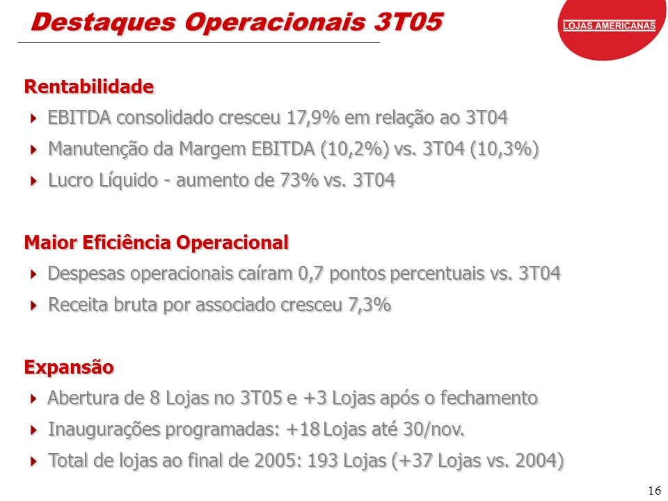 16 Destaques Operacionais 3T05 Rentabilidade EBITDA consolidado cresceu 17,9% em relação ao 3T04 EBITDA consolidado cresceu 17,9% em relação ao 3T04 Manutenção da Margem EBITDA (10,2%) vs.