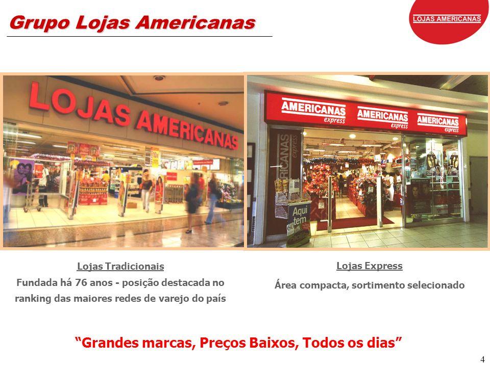 4 Grupo Lojas Americanas Lojas Express Área compacta, sortimento selecionado Lojas Tradicionais Fundada há 76 anos - posição destacada no ranking das maiores redes de varejo do país Grandes marcas, Preços Baixos, Todos os dias