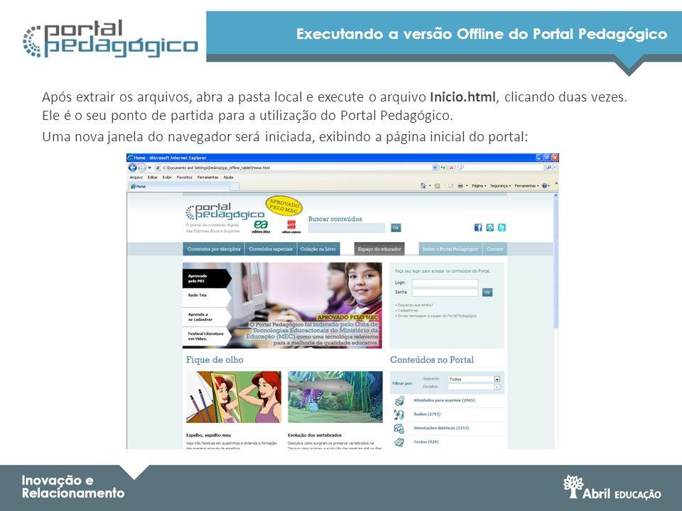 Executando a versão Offline do Portal Pedagógico Após extrair os arquivos, abra a pasta local e execute o arquivo Inicio.html, clicando duas vezes. El