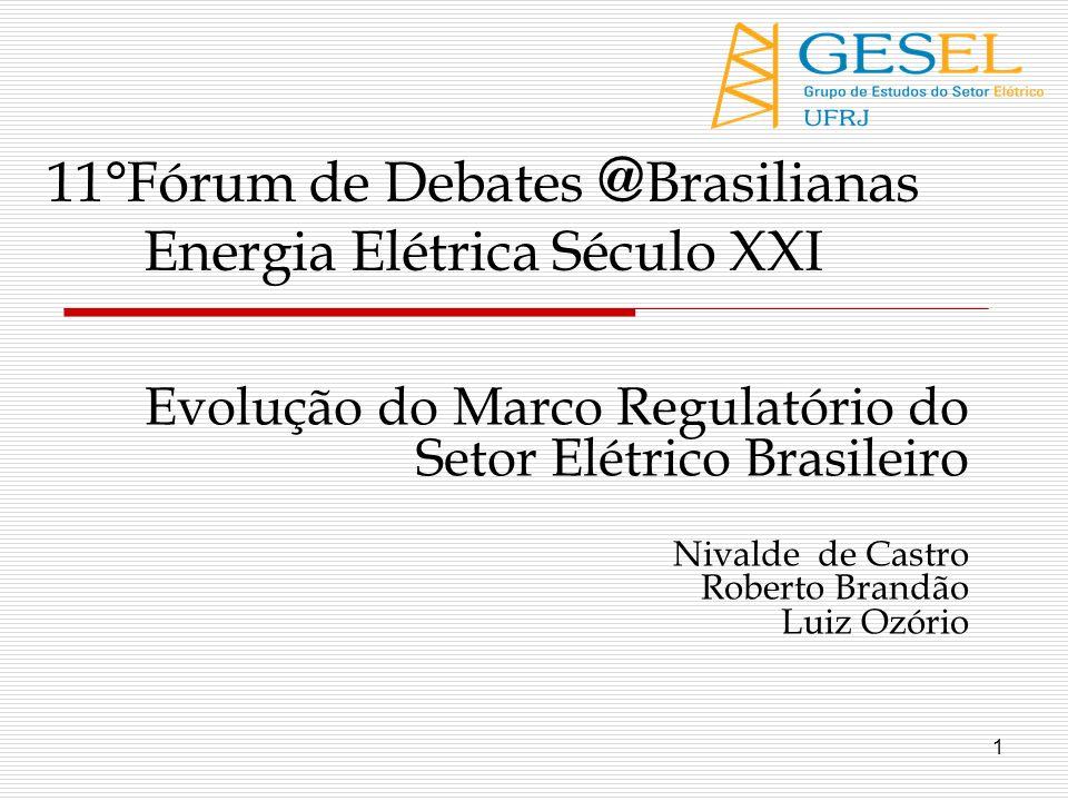 1 Evolução do Marco Regulatório do Setor Elétrico Brasileiro Nivalde de Castro Roberto Brandão Luiz Ozório 11°Fórum de Debates @ Brasilianas Energia E